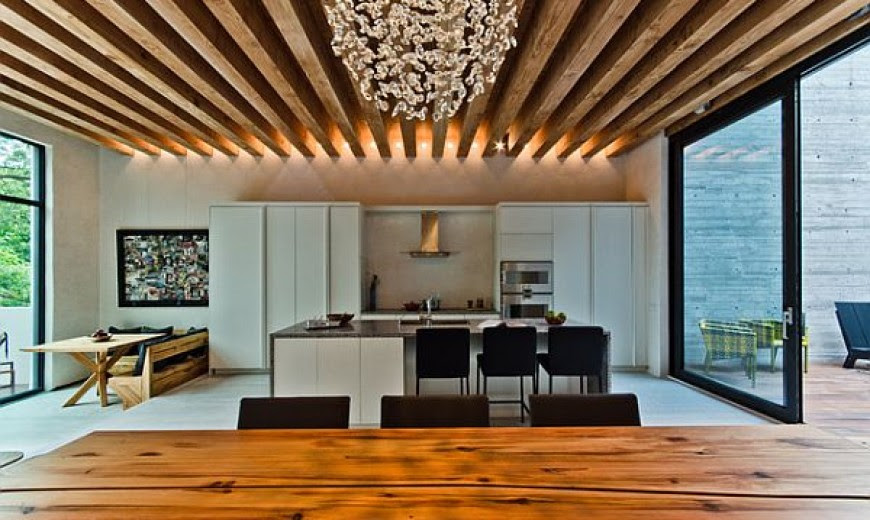 wooden beams ceiling in the kitchen 870x520