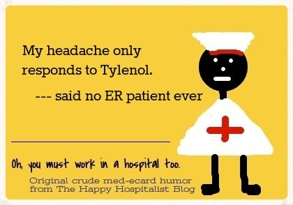 My headache only responds to Tylenol said no ER patient ever ecard humor photo.