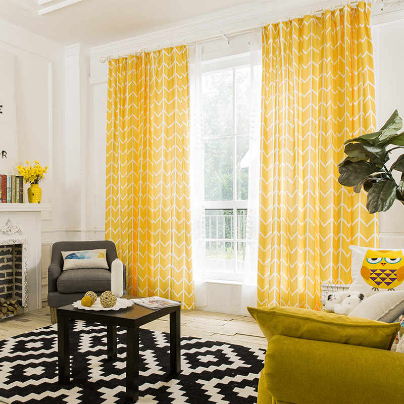 Rzcortinas Geometic Bright Yellow Curtain With Stripes For Living Room Cotton Linen Modern Curtains For Bedroom Window Treatment