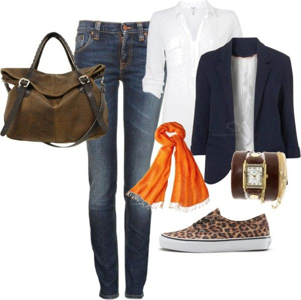Comfy casual....stylish, yet still wearing tennis shoes...might be a great travel outfit.