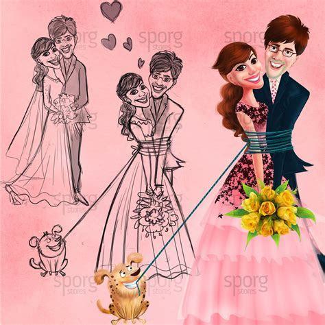 Caricature Illustrated Wedding Invitation Design. on Behance