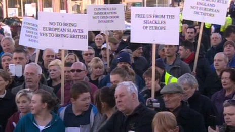 Protest against high levels of immigration in Boston, Lincolnshire