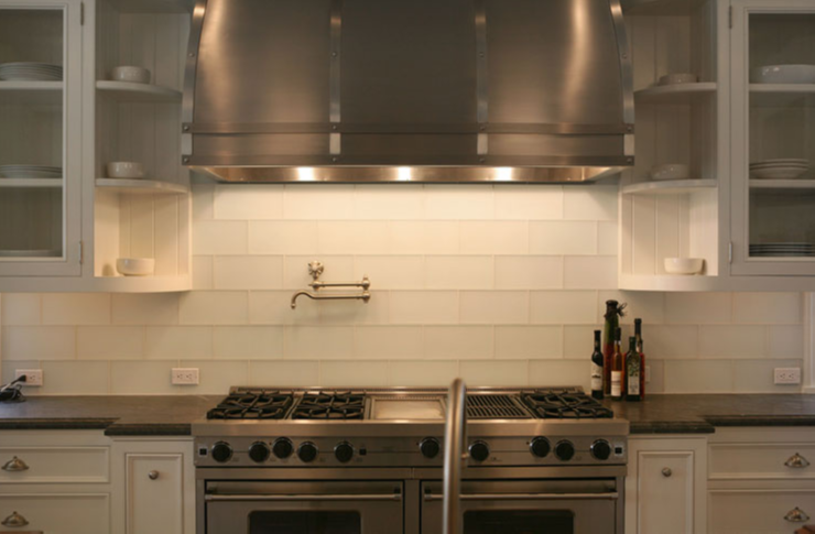 White Glass Subway Tiles - Transitional - kitchen - Giannetti Home