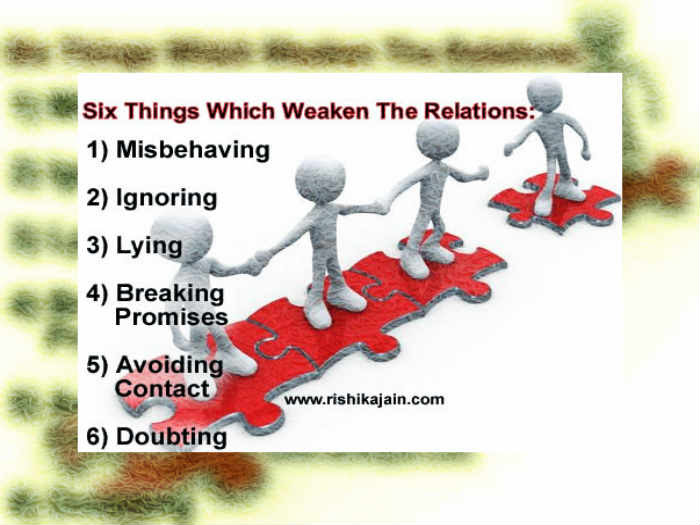 Six Things Which Weaken The Relations Inspirational Quotes