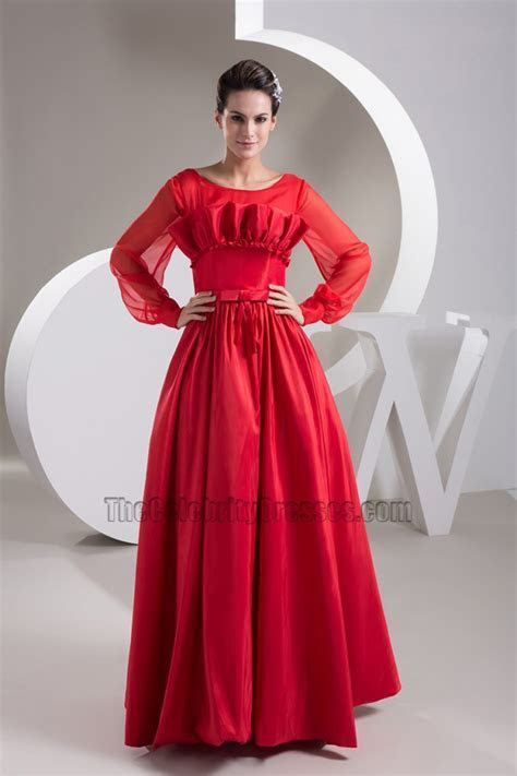 Red Long Sleeve A Line Prom Gown Evening Formal Dress