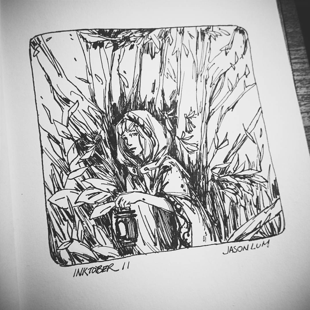 #inktober day 11. Little black and white riding hood?  #art #artistsoninstagram #drawing #ink #pen #forest #plants #trees #blackandwhite #little #red #riding #hood