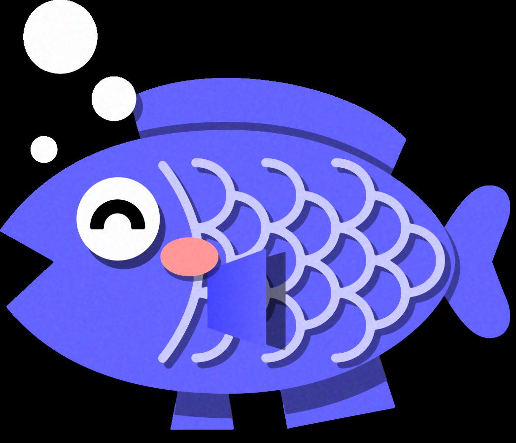 青色の魚イラストかわいいフリー素材無料イラスト素材のプチッチ