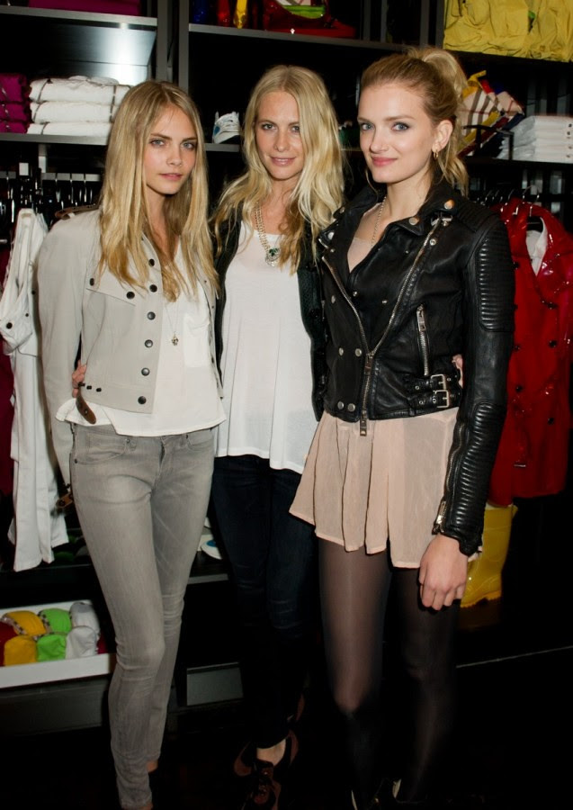 Cara Delevingne, Poppy Delevingne and Lily Donaldson wearing Burberry