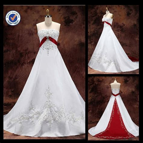White Wedding Dresses with Red Accents   JM32 white and