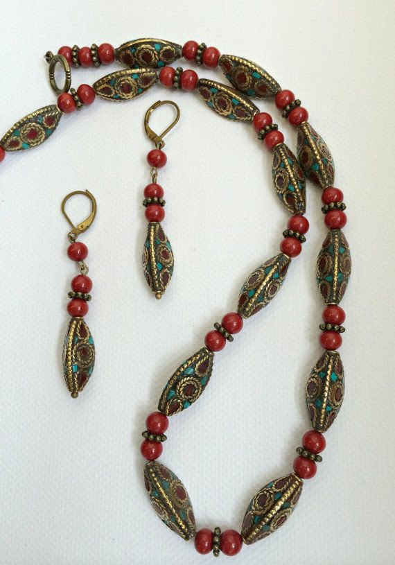 Tibetian handmade beads and coral necklace by Littlewomenbusiness, €48.00