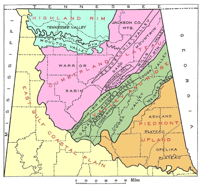 Map Of The Physical Divisions Of Northern Alabama Adapted