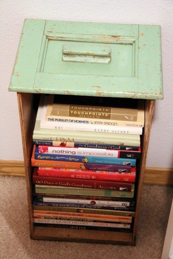 Old drawers can be repurposed as bookshelves in your dorm room at college, this will also make it easier to transport them during move-in and move-out