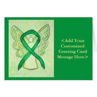 Green Awareness Ribbon Angel Personalized Cards