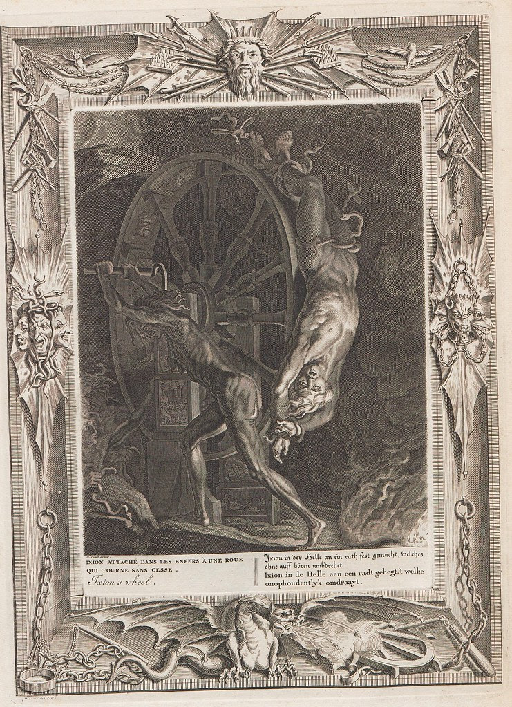 In mythical hell scene, human is bound and rotated on a punishment wheel