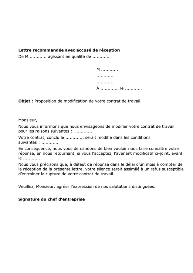 Lettre De Refus De Modification De Contrat De Travail