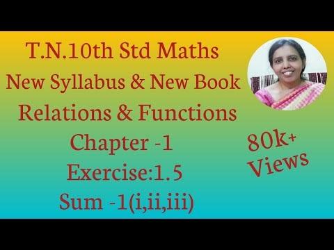 10th std Maths New Syllabus (T.N) 2019 - 2020 Relations & Functions Ex:1.5-1(i,ii,iii)