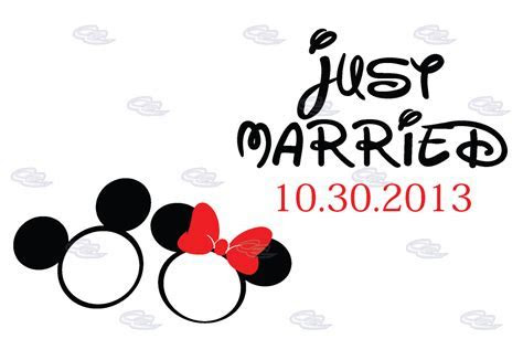 Just Married Mickey Minnie Mouse Wedding Engagement Rings