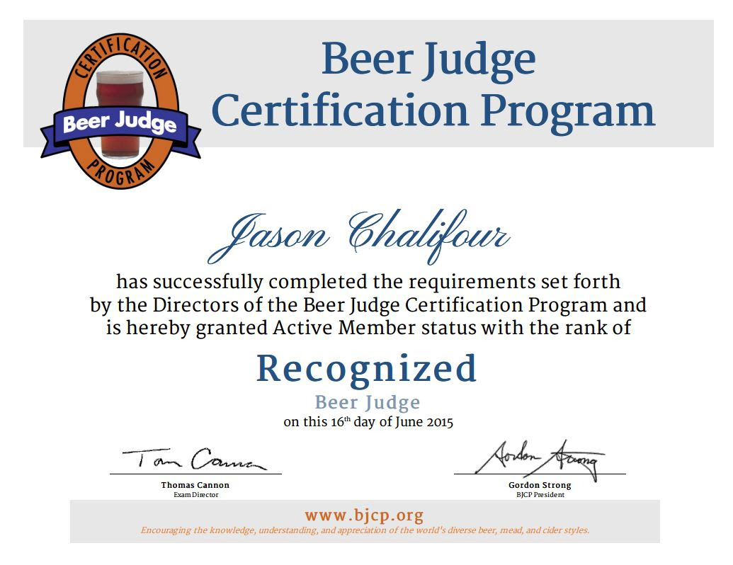 BJCP Certificate