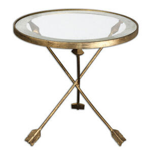 """Hollywood Regency Modern Antique Gold Metal Iron Glass Arrow Accent Table 20""""D"""