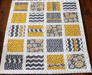 Chevron and polka dots Quilt grey and yellow