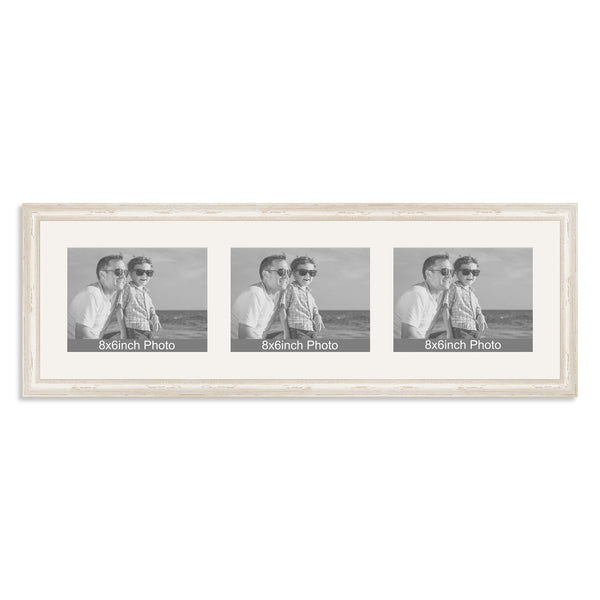White Shabby Chic Multi Aperture Frame For Three 8x66x8in Landscape P