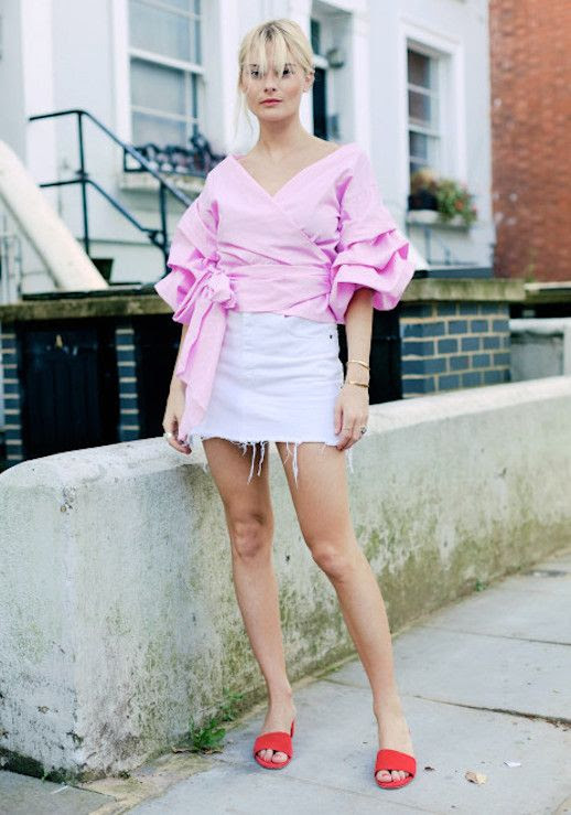 Le Fashion Blog Ruffled Pink Top White Denim Mini Skirt Red Slides Via Pandora Sykes