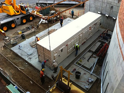 The portable data center in place. Loaded, it will weigh about 110,000 pounds.
