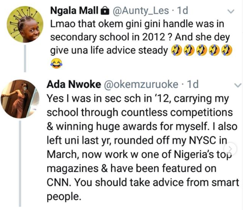 Lady blasts Nigerian Aunty who said she's too young to