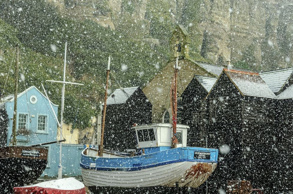 Snowing at Rock-a-Nore, Hastings East Sussex