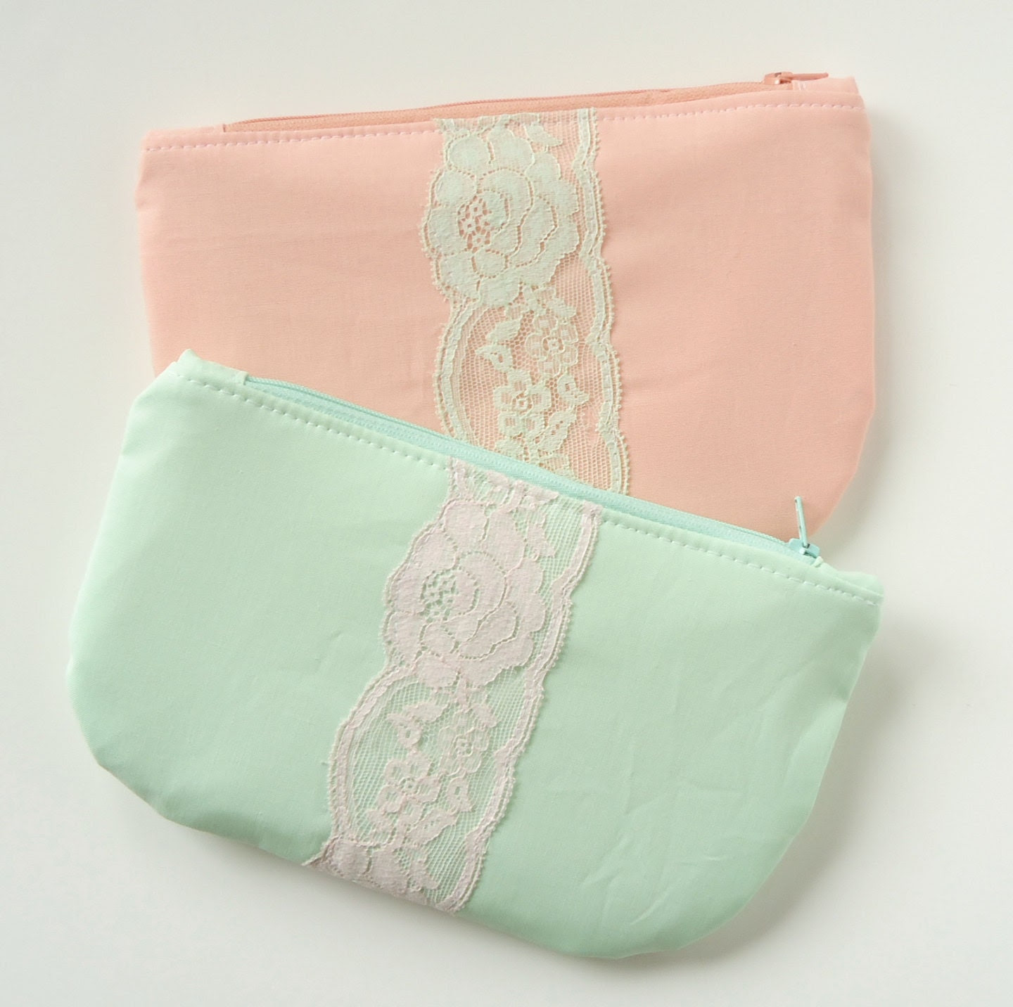 Set of 2 - Peach Mint Clutch Vintage Lace - Bridesmaid Gift - Peach Mint Wedding