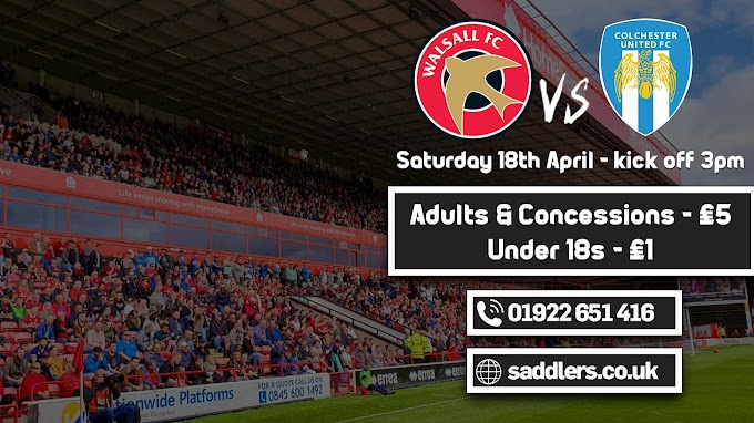 Ticket Offer: Sit Anywhere For a Fiver as Walsall Face Colchester United