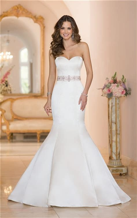 Fit And Flare Strapless Satin Wedding Dress With Crystals