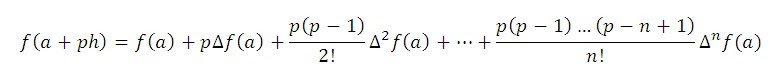 Newton's forward difference interpolation formula