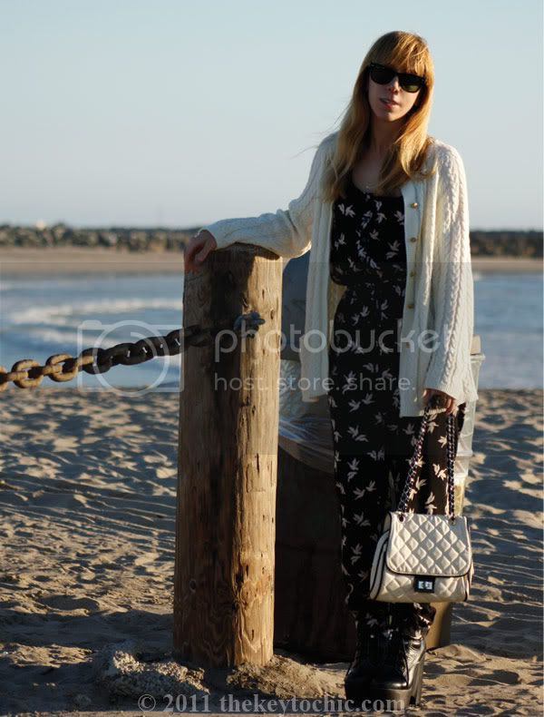 H&M bird print jumpsuit, Jeffrey Campbell Tardy boots, cable knit cardigan, California fashion blog