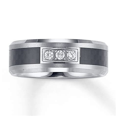 8mm Triton Wedding Band 1/6 ct tw Diamonds Tungsten