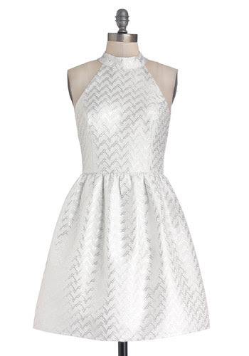 Because You're Brilliant Dress - Mid-length, Woven, White, Silver, Chevron, Cutout, Party, A-line, Sleeveless, Better, Cocktail, Holiday Party