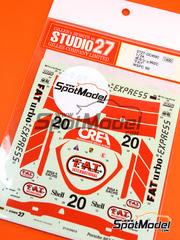 Studio27: Calcas escala 1/24 - Porsche 962C FATurbo Nº 20 - Tim Lee-Davey (GB) - Campeonato del Mundo de Sports Prototipos - WSPC 1990 - para kit de Tamiya TAM24089, TAM24313, TAM24233