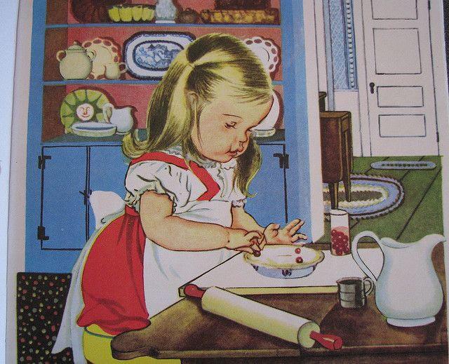 'We help Mommy' (Golden Book Series) by American illustrator Eloise Wilkin (1904-1987).