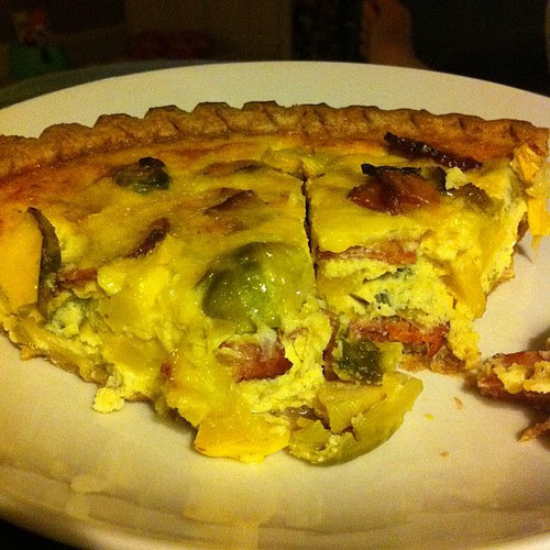 Perhaps my favorite quiche combo yet... turkey bacon with brussels and summer squash! #wfd