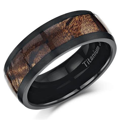 Black Titanium Wedding ring Band Ring with Koa Wood Inlay