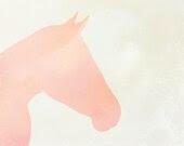 Modern Ombre Watercolor Horse Silhouette 14x11 original PRINT - KateMooreCreative