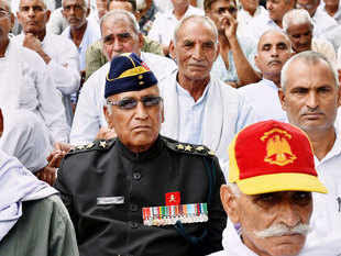 In pic: Ex-servicemen during their protest over the delay in implementation of 'One Rank, One Pension' (OROP) at Jantar Mantar in New Delhi.