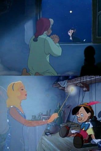 """Na Disney Pinóquio, baseado em uma história escrita por Carlo Collodi maçom, Gepetto ora para a estrela mais brilhante no céu para ter um """"menino de verdade"""".  A Fada Azul (sua cor é uma referência ao brilho de luz azul de Sirius), em seguida, desce do céu para dar vida a Pinóquio.  Durante a busca da marionete para se tornar um menino (uma alegoria para a iniciação esotérica), a Fada Azul orienta Pinóquio para o """"caminho certo"""".  Sirius é, portanto, representado como uma fonte de vida, um guia e um professor.  (Para mais informações consulte o artigo intitulado A interpretação esotérica de Pinóquio em Cidadão Vigilante)."""