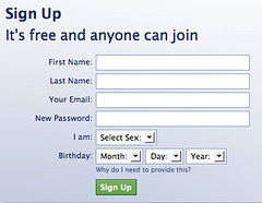 Facebook's signup page