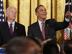 President Barack Obama and Vice President Joe Biden participate in an LGBT Pride Month event at the White House.