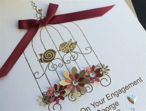 Handmade Engagement Card Bird Cage   Handmade Cards  Pink