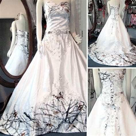 You had me at Camo   Elegant White Camo Wedding Dress with