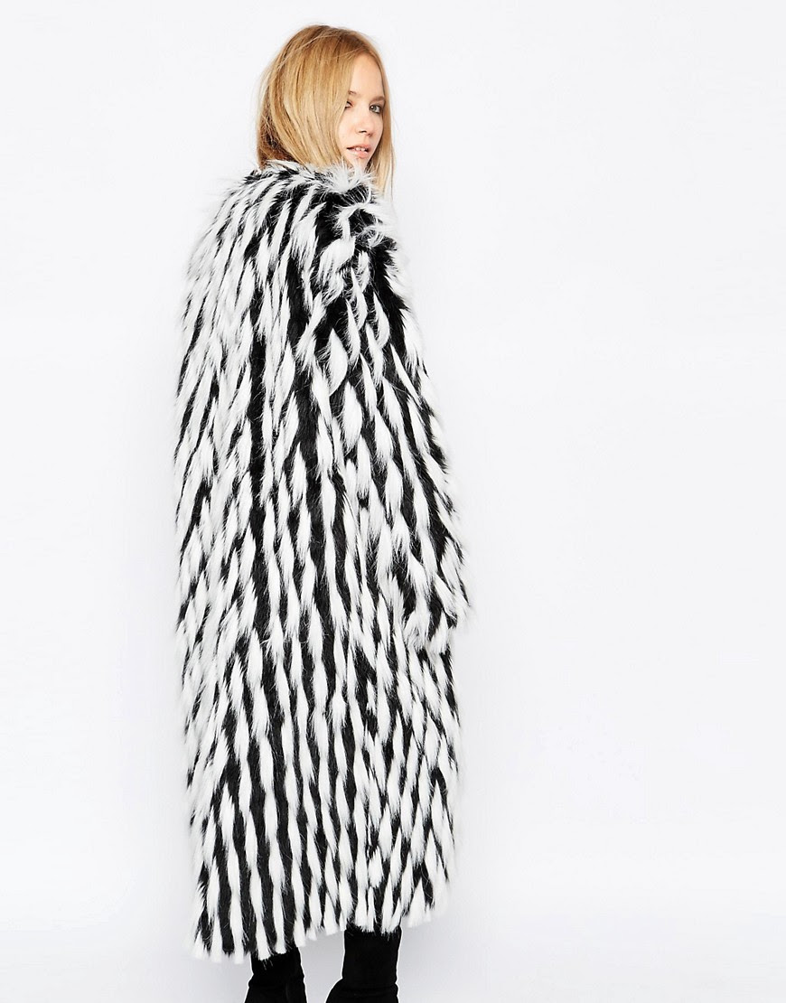 Image 2 of Story Of Lola Maxi Faux Fur Coat In Mixed Monochrome