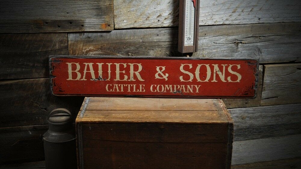 Cattle the Wooden Custom Made  Company  Wood company  Rustic Vintage Sign sign Hand rustic