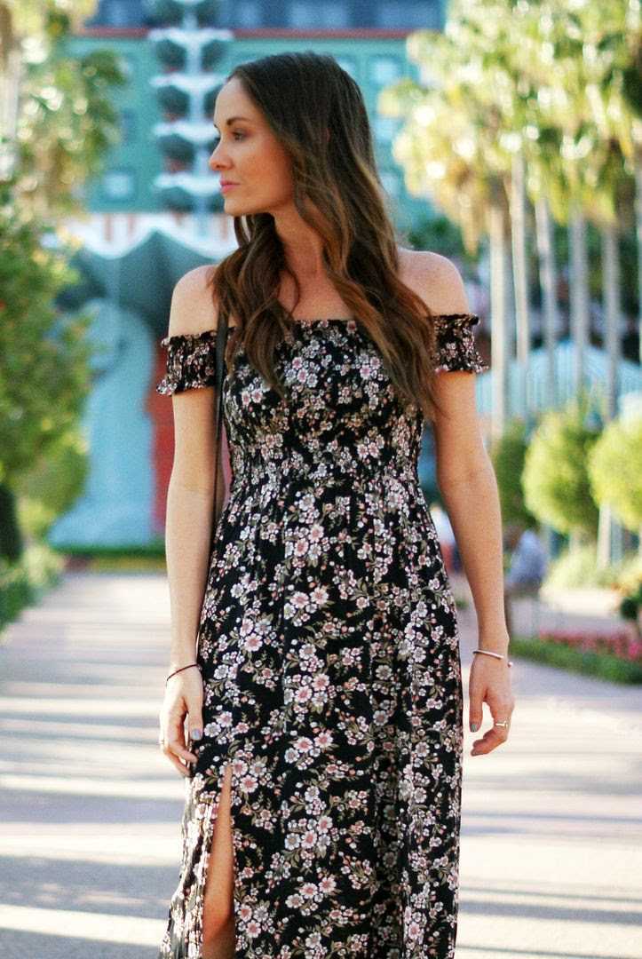 Spring floral off the shoulder maxi